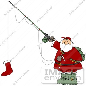 36155-clip-art-graphic-of-santa-fishing-with-a-red-christmas-stocking-by-djart