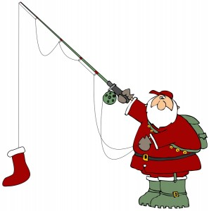 Clipart Illustration of Santa Holding A Red Christmas Stocking On A Fishing Pole Hook
