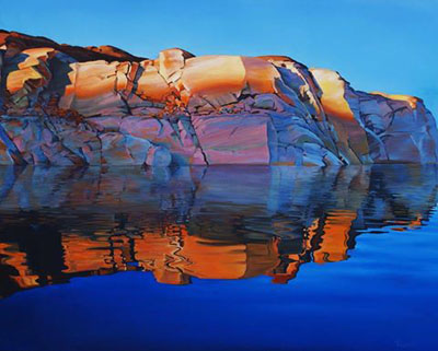 Morning Stillness at Lake Powell - pictureque image of still water reflecting colorful canyon walls at Lake Powell, Arizona