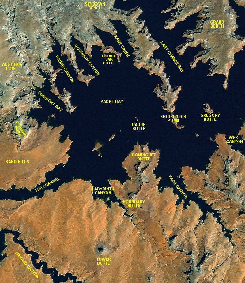 Lake Powell Map - Padre Bay area