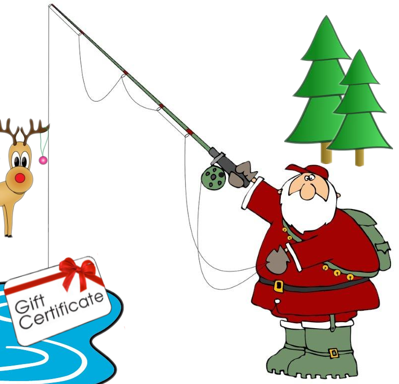Nice Catch! Santa holding fishing rod with Gift Certificate on the hook. Deer and Trees in the background.