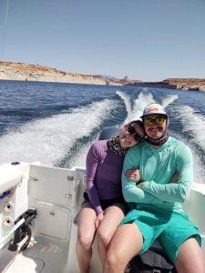 Joe & Mary from Boston, enjoying the boat ride on Lake Powell, AZ