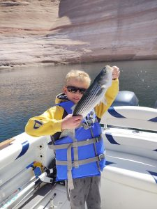 Young boy, pre-teen, on a boat smiling and holding up the fish he landed on Lake Powell